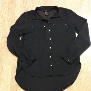 H&M Sheer Long Sleeve Black Button Down Blouse